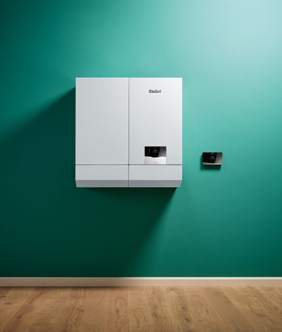 Wall-hung boiler ecoTEC plus with hot water storage and room thermostate sensoHOME